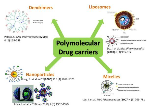 Ideally, a drug should arrive to the target tissue. Several polymolecular drug carriers have been developed.